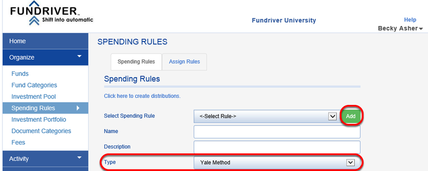 The Yale Method spending rule can be set up in ORGANIZE > SPENDING RULES.  Click the green ADD button to add a new rule and choose YALE METHOD as the rule TYPE.