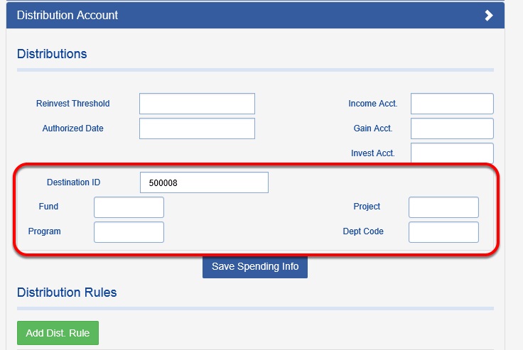 All of the fields in the box below will pull onto the transaction record when the distributions are processed.