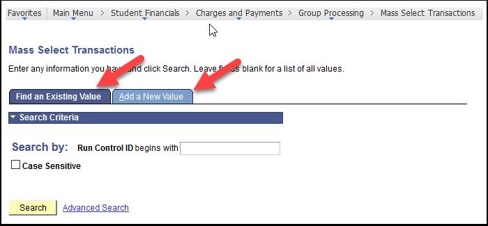 Mass Select Transactions page