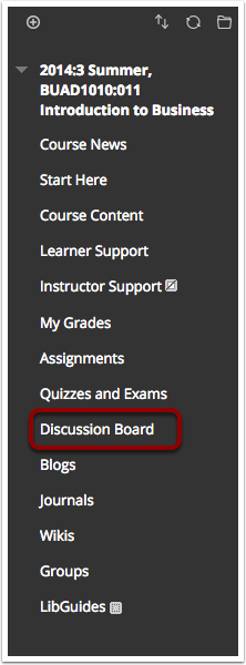 Image of the course menu with the Discussion Board link highlighted