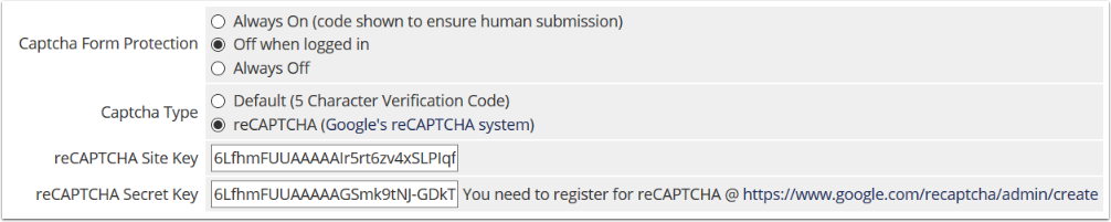 Configure recaptcha as shown
