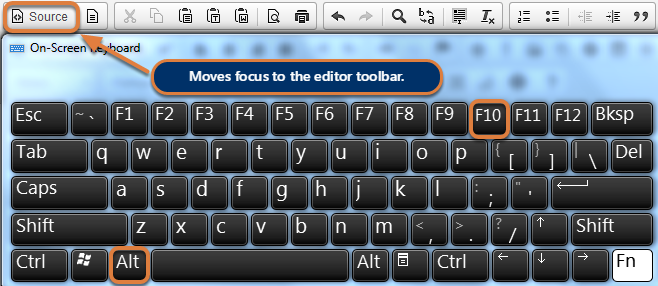 Navigate away from the editing text box to the Editor toolbar