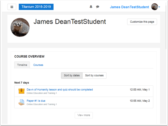 Sample student dashboard showing activities due in next 7 days