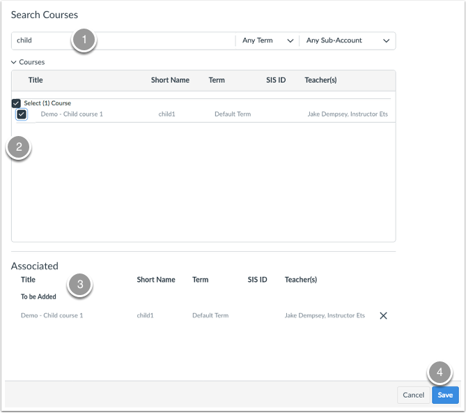 How do i associate courses with my blueprint course canvas use the search field 1 and the course list 2 to find and select the courses you want to synchronize with the blueprint confirm the list of associated malvernweather Images