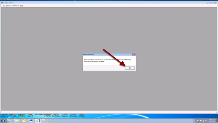 Click open Again on the previous screen. You should then see the message below.