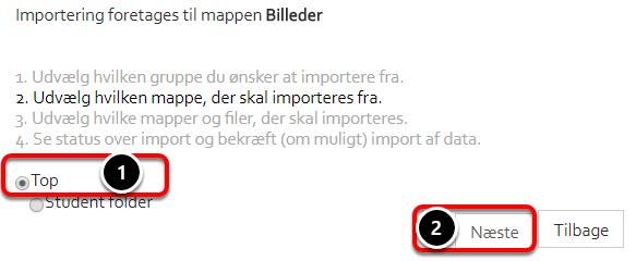"""Vælg nu fra hvilken mappe filerne skal kopieres/flyttes og klik: """"Næste"""""""