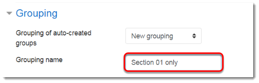 Grouping name field is selected