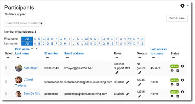participants page showing more data