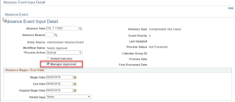 Absence Event Input Detail page