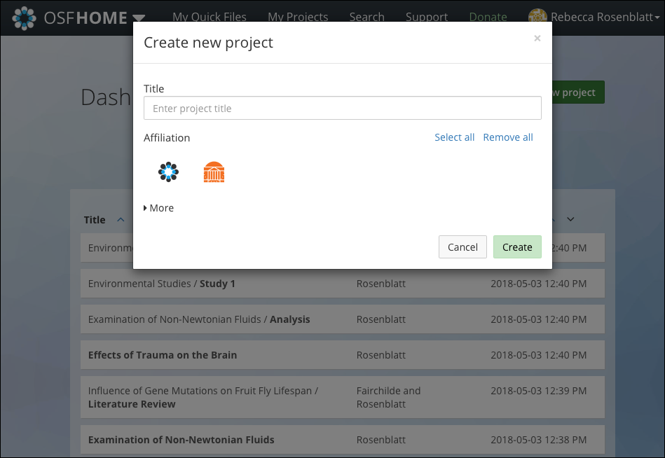 """The """"Create new project"""" Modal"""