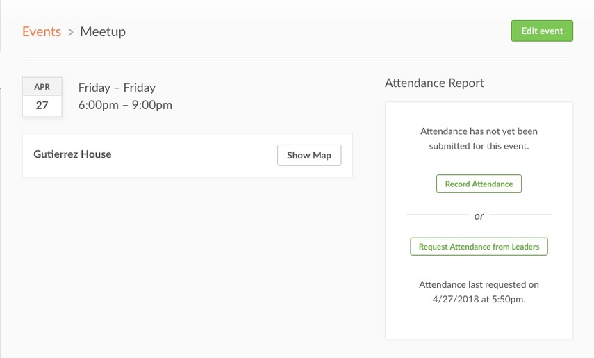 Event page pointing with Attendance Report Options