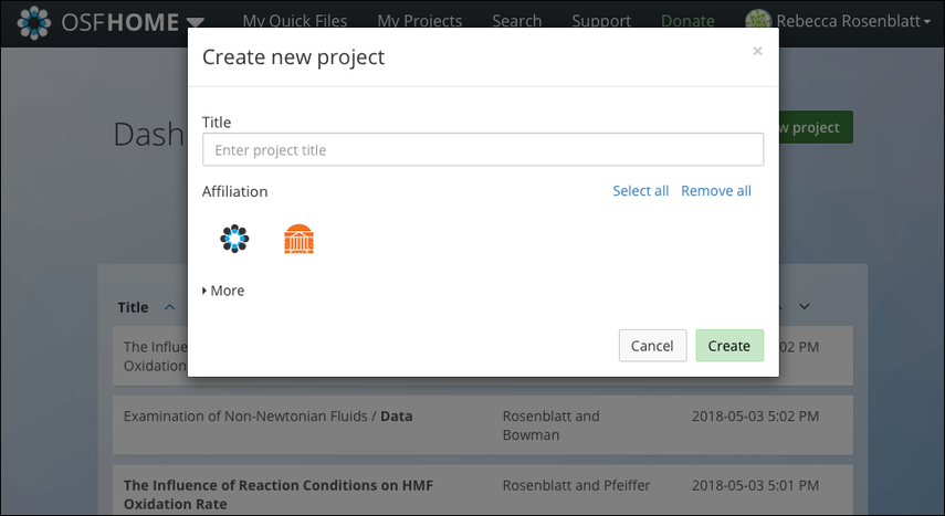 Create New Project Modal