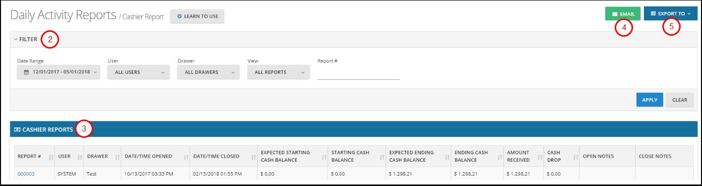 Cashier Report – myfrontdesk