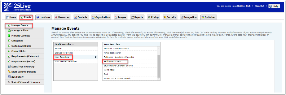 Locating event in Admin utility using starred search