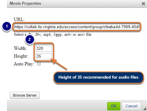 Set the Height to 35, and then click OK.