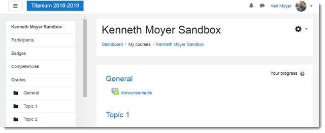 Sandbox course main page before block