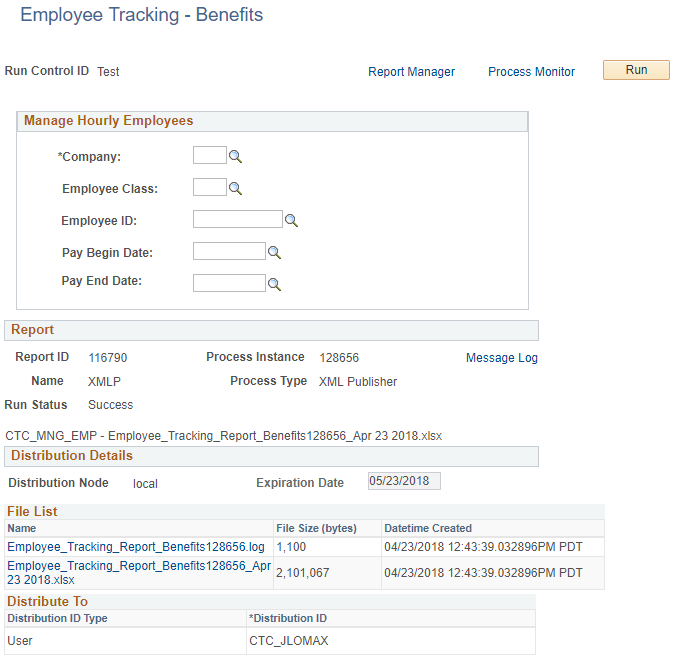 Manage Hourly Employees screen, Report section and Distribution Details page