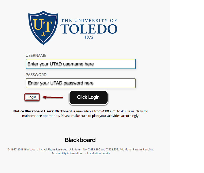 On the Blackboard page enter the UTAD credentials.