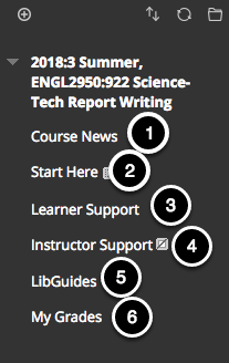Image of the course menu with the following annotations:
