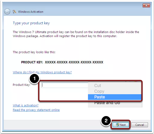 type your product key windows 7 ultimate