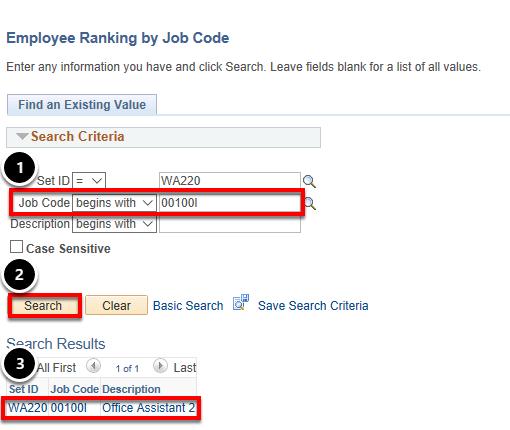 job code, ranking, search