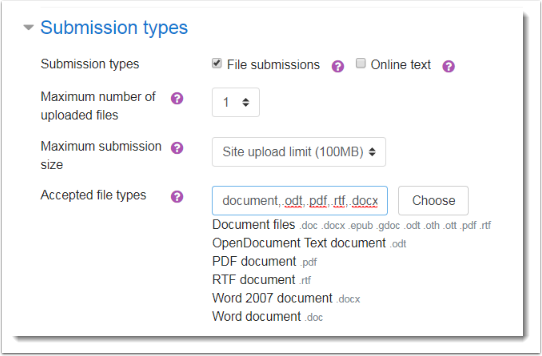 Assignment showing acceptable file types.