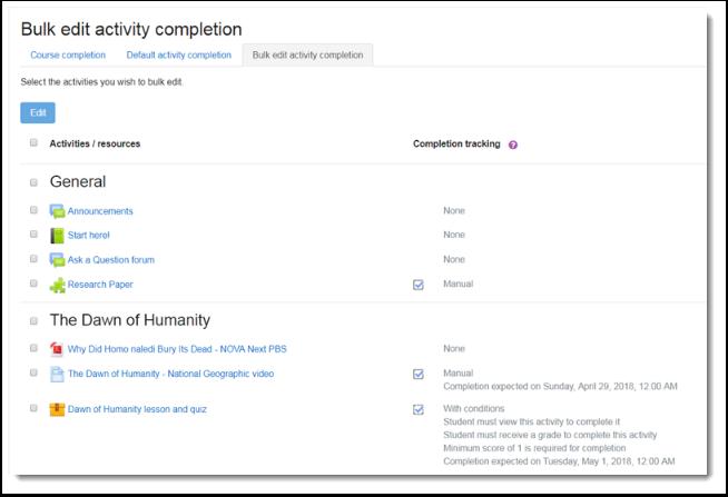 bulk edit activity completion page