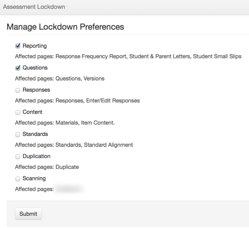 Lock Assessment-Manage Lockdown Preferences (Only displays if applicable to your permission level)