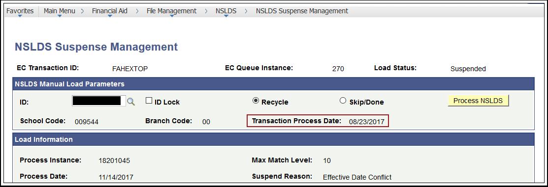 Transaction Process Date