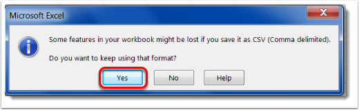 Yes button is selected to keep using Excel.