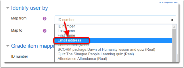 Email address is selected for Map from field.