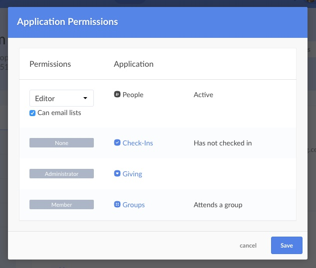 application permissions
