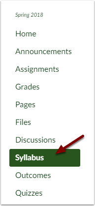 Canvas Course Navigation Bar showing Syllabus button