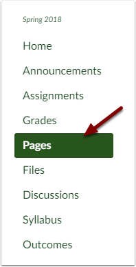 Canvas Course Navigation Bar showing Pages button