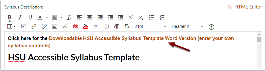 how do i use the hsu accessible syllabus template accessibility