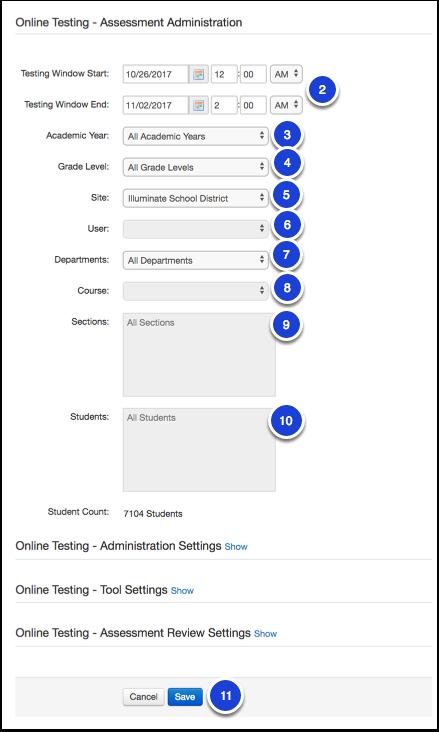 Enable Assessment for Online Testing