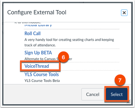 Click VoiceThread and Select