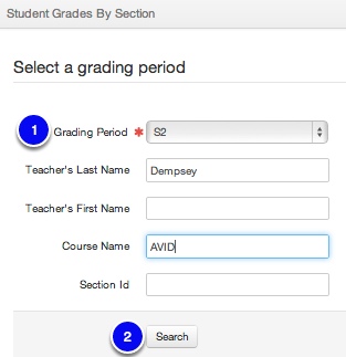 Edit Grades by Section