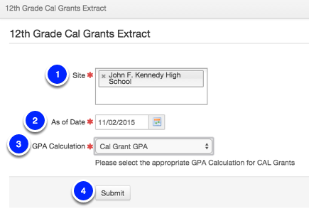 12th Grade Cal Grants Extract