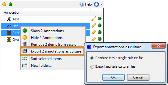 Export straight-line annotations