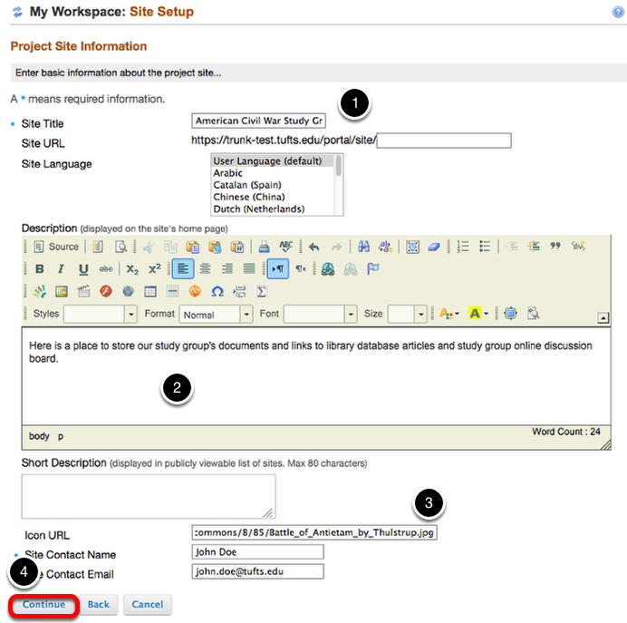 Enter Project site information, then click Continue.