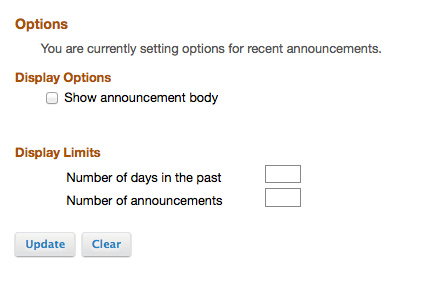 To edit the display of Site Announcements, click Options.