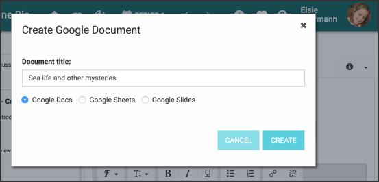 Image of the Create Google Doc window.