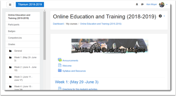 course main page