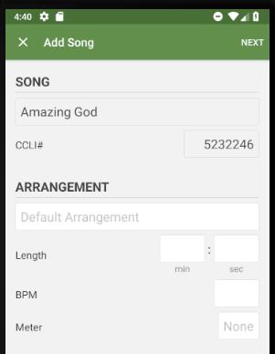 Add Song top