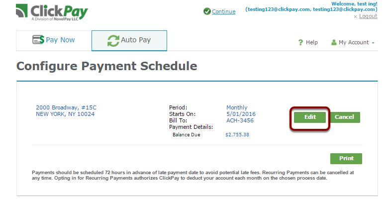Edit your auto payment