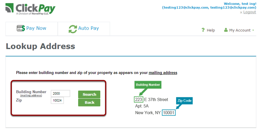 "Step 2: Enter your add your building number and Zipcode and click ""Search"""
