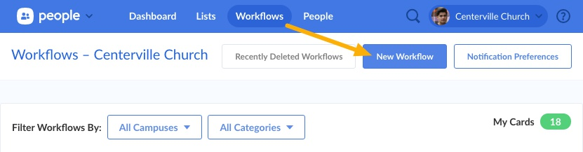 Add Workflow from Workflows tab