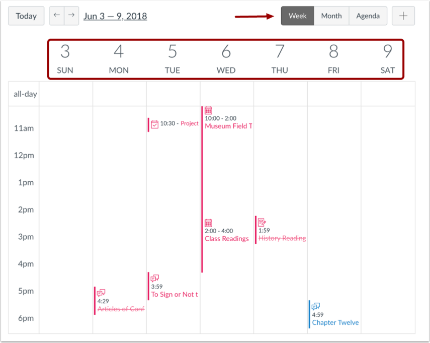 Visualizar Calendário por Semana