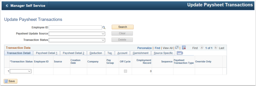 Update Paysheet Transactions Home Page